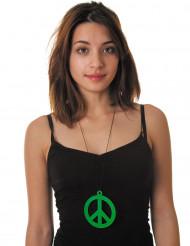 Collana hippie con simbolo della pace verde fluo