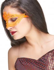 Mascherina arancione di pizzo per adulto