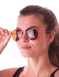 Occhiali aviatore rosa fluo adulto