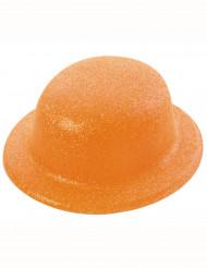 Bombetta arancione con paillettes per adulto