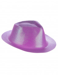 Cappello borsalino viola con brillantini per adulto