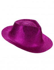 Cappello borsalino rosa con brillantini per adulto