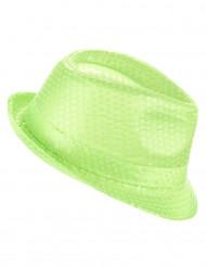 Cappello borsalino paillettato verde fluo adulto