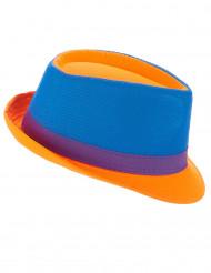 Cappello trilby blu, viola e arancione