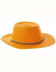 Cappello cowgirl arancione paillettato adulto