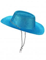 Cappello da cowgirl blu con brillantini per adulto