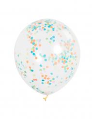 6 palloncini trasparenti con coriandoli colorati