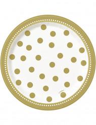 Confezione di 8 piatti di carta dorati