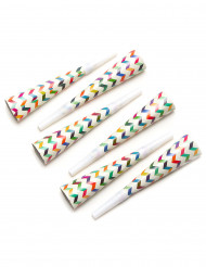 6 Trombette di carta motivo zigzag colorato