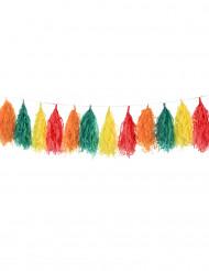 Ghirlanda nappa 16 pompom rosa, rosso, giallo e verde 1.8 m
