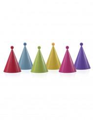 6 Cappellini per la festa colorati con pompon