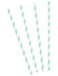 10 cannucce in cartone a righe azzurre