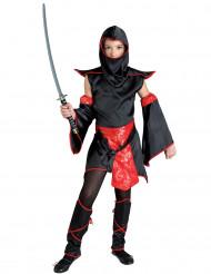 Costume da guerriero ninja rosso e nero per bambina