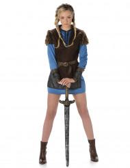 Costume da vichinga blu donna