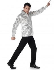 Camicia disco brillante argento uomo
