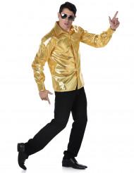 Camicia disco dorata con paillettes da uomo