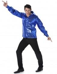 Camicia disco blu da uomo con paillettes