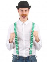 Bretelle verdi con trifogli bianchi -San patrizio