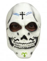 Maschera da scheletro con baffi Dia de Los Muertos - adulto