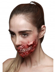Trucco Halloween: ferita con denti apparenti