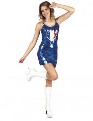 Image of Vestito con paillettes blu e cuore tricolore Francia per donna