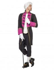 Costume da pirata barocco nero e fucsia per uomo