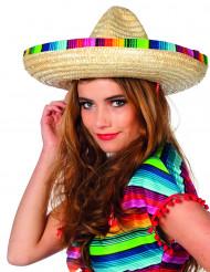 Sombrero di paglia con bordo multicolore adulto