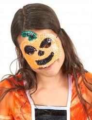 Mezza maschera da zucca di Halloween con paillettes