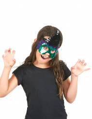 Mezza maschera da strega verde  con paillettes - Halloween