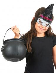 Mezza maschera da strega con paillettes per bambina- Halloween