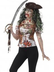 T-shirt pirata zombie donna