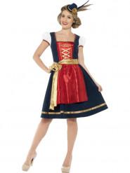 Costume bavarese tradizionale blu e rosso per donna