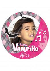 Disco di zucchero A4 personalizzabile Vampiro rosa 20 cm