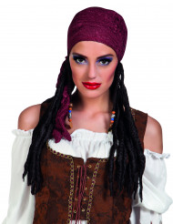 Parrucca da pirata con bandana bordeaux