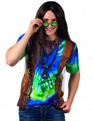 T-shirt hippie blu e verde per uomo