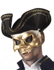 Maschera dorata con cappello pirata per adulto