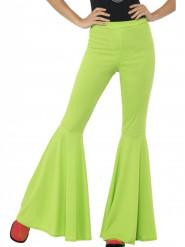 Pantaloni disco verde acido per donna