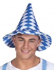 Cappello bavarese bianco e blu per adulto