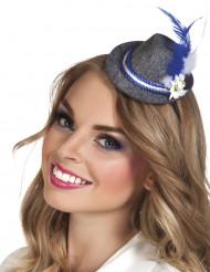 Mini cappello bavarese con piume per adulto