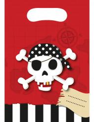 Confezione di 6 bustine di carta a tema pirata