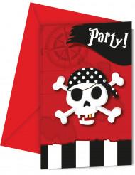 6 cartoncini d'invito Pirati