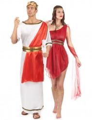 Costume coppia romani rosso adulto