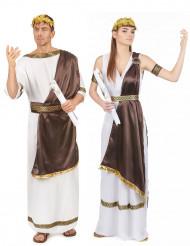 Costume coppia romani marrone adulto