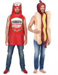 Costume coppia hot dog et ketchup adulto