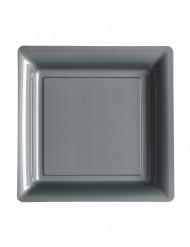 12 piatti piccoli quadrati grigio argenti 18 cm