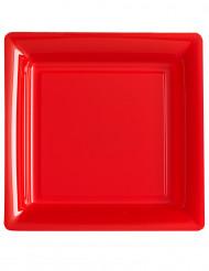 12 Piattini di plastica quadrati rossi