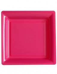12 piatti quadrati fucsia