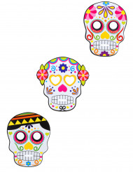 3 Maschere di carta assortite Dia de Los Muertos - Halloween