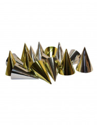 Confezione 100 cappelli a punta metallizzati oro e argento