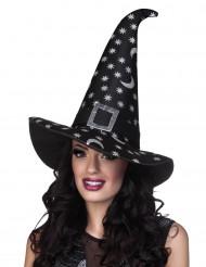 Cappello strega ragnatele argentate Halloween
